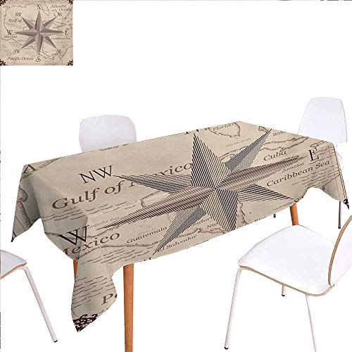 familytaste Compass Patterned Tablecloth Central American Map Caribbeans Background Windrose Design Gulf of Mexico Cuba Dust-Proof Oblong Tablecloth 50