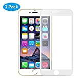 MuStone [2 Pack Screen Protectors for iPhone 7 plus iPhone 8 plus, 3D Full Screen Frame Edge to Edge Tempered Glass Edge for iPhone 7 Plus 8 Plus Tempered Glass Screen Protectors 5.5'' (White)
