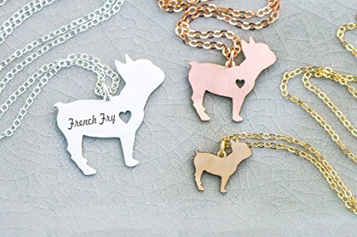 French Bulldog Necklace - Frenchie - IBD - Personalize with Name or Date - Choose Chain Length - Pendant Size Options - 935 Sterling Silver 14K Rose Gold Filled Charm (Bulldog Keepsake)