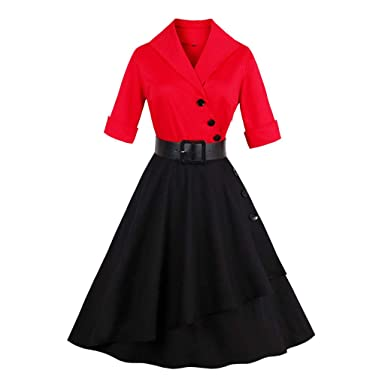 8c7bb88e797 ... Club Evening Gown Fluffy Plus Size Ladies Novelty Swing Bridesmsid  Table Office Sexy Dress Half Sleeve Solid Patchwork Button Vintage Red:  Amazon.co.uk: ...