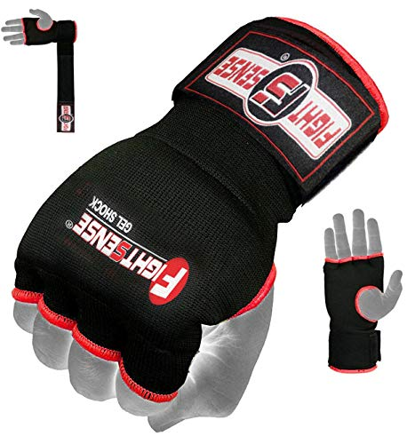 FIGHTSENSE Padded Gel Inner Gloves with Long Wraps for Boxing MMA Wrist Hand Wraps Muay Thai Under Gloves Training Pair