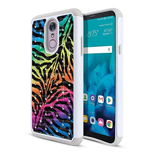 (FINCIBO Case Compatible with LG Stylo 4, Dual Layer Shock Proof Hybrid Protector Case Cover TPU Sparkle Rhinestone Bling for LG Stylo 4 - Colorful Zebra)