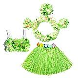 6Pcs Hawaii Tropical Hula Grass Dance Skirt Kids Flower Leis Bracelets Headband Necklace Bra Set 40cm (Green Skirt)