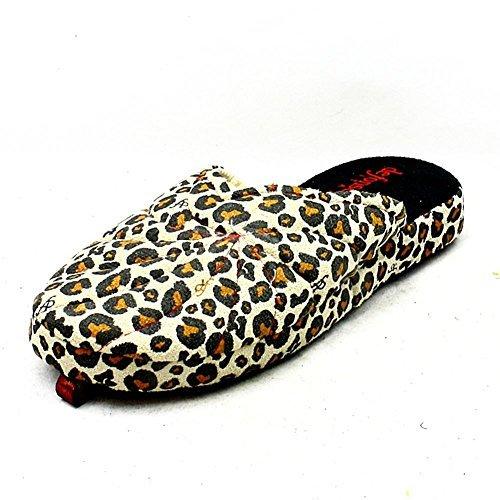Damen öffnen zurück Pantoffeln mit Leoparddruckmuster Leopard