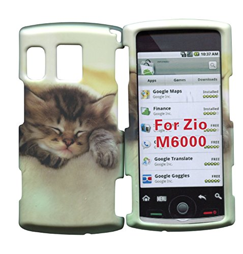 Sanyo Hard Faceplates - Kitty Cat Sanyo Zio by Kyocera M6000 Cricket Case Cover Hard Phone Case Snap-on Cover Rubberized Touch Faceplates