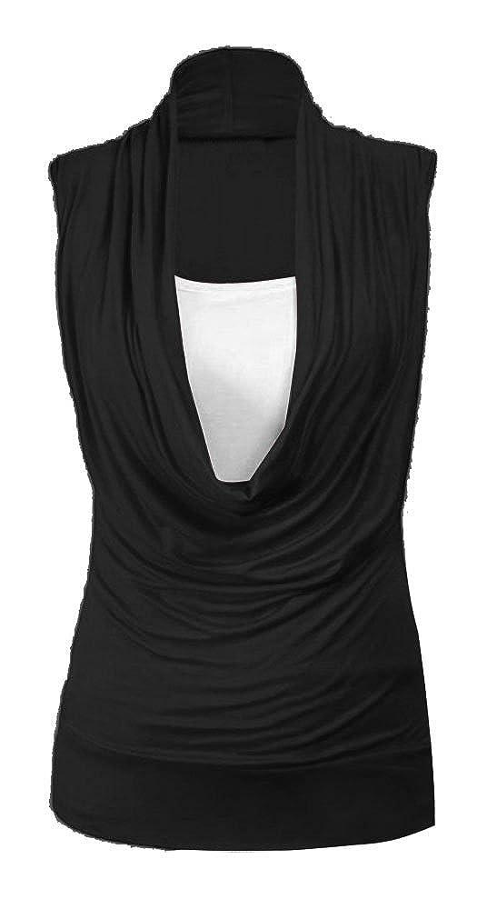 Forever Women Plain Plus Size Cowl Neck Inner Vest 2 In 1 Tunic Sleevless Style Top