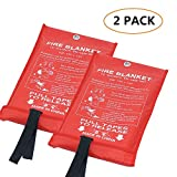 Aksipo Fire Blanket Fiberglass Fire Emergency Blanket Suppression Blanket Flame Retardant Blanket Emergency Survival Safety Cover for Kitchen,Fireplace,Car,Office,Warehouse, 2 Pack (39.3X 39.3 inch)