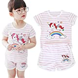 Little Girls 2pc Short Sets 100% Cotton Sleeveless Cute Outfits Summer Clothes for Toddler Girl (2T-6T) (3T, Pink)