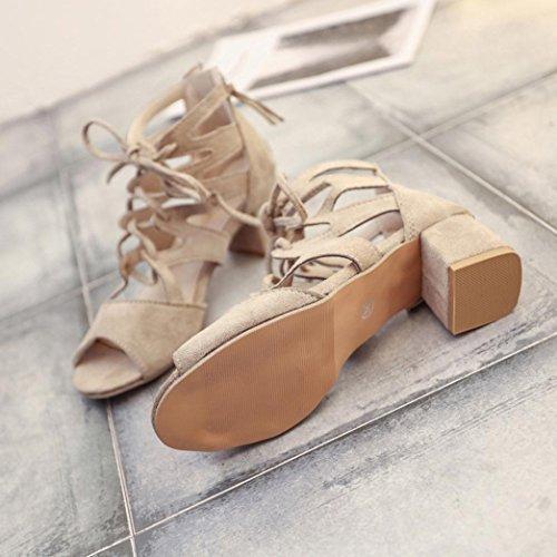 Longra Damen Sandale mit Raffinierter Ristschnürung High Heels Sandaletten Zum Schnürung Damen Elegante Riemchensandalen Römersandalen Stiefeletten Sommerschuhe Beige