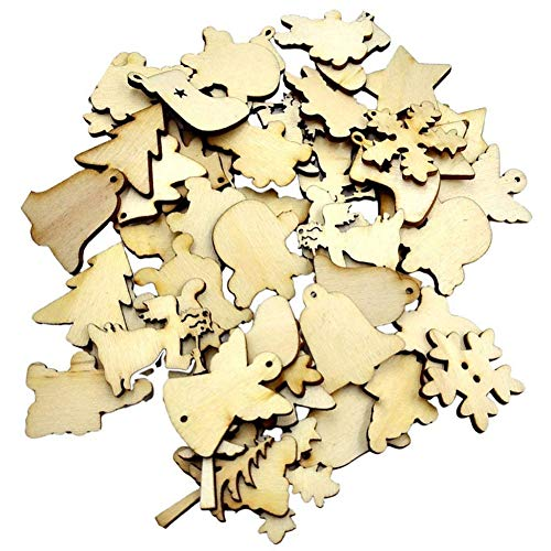 YaptheS 50 PCS Natural Wooden Christmas Ornaments Delicate Christmas Hanging Decorations DIY Crafts Christmas Embellishments Tools & Decorations