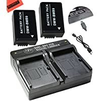 2 Pack of DMW-BMB9 Batteries and USB Dual Battery Charger for Panasonic Lumix DC-FZ80, DMC-FZ40K, DMC-FZ45K, DMC-FZ47K, DMC-FZ48K, DMC-FZ60, DMC-FZ70, DMC-FZ100, DMC-FZ150 Digital Camera