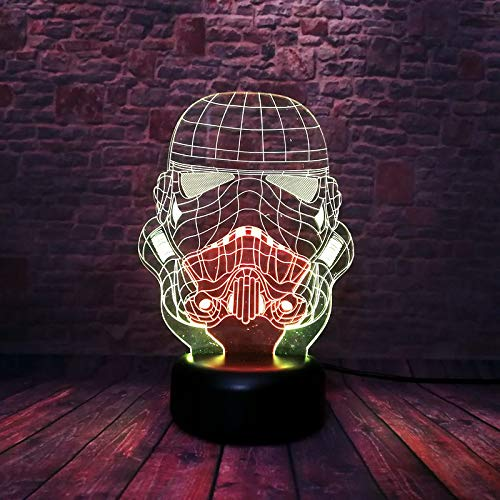 Soldier Mask Figurines Model 3D Night Led Mixed Colors Changing Stormtroopers Action & Toy Figures -Multicolor Complete Series Merchandise (Imperial Soldier Mask)