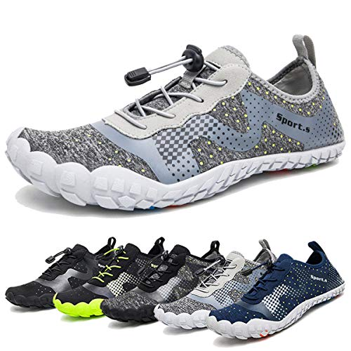 Water Shoes for Men Quick-Dry Aqua Sock Outdoor Athletic Sport Shoes for Kayaking,Boating,Hiking,Surfing,Walking (A-Light Gray, 42)
