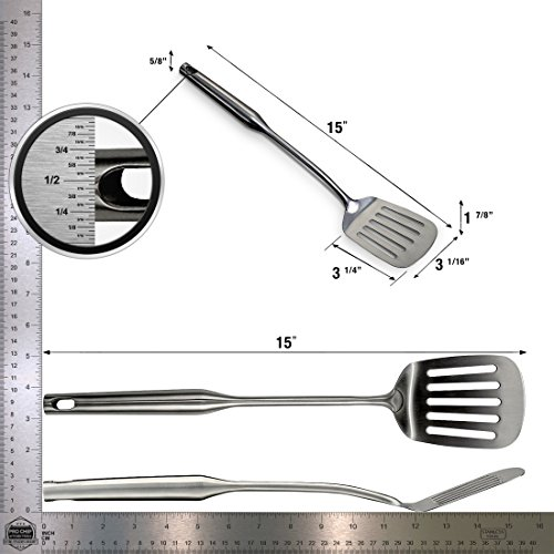 Large Product Image of Pro Chef Kitchen Tools Slotted Turner Grill Spatulas - Big Metal Spatula - Burger Flipper Fish Turner - Wok Cooking Pancake Griddle - Heavy Duty Commercial Restaurant Quality Stainless Steel Utensils