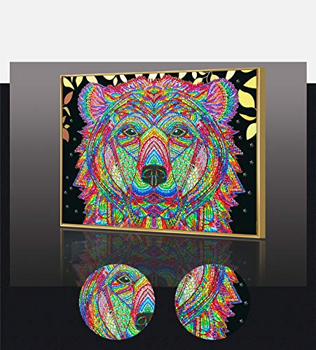 Amersin DIY 5D Special Shaped Diamond Painting by Number Kits, Full Drill Rhinestone Embroidery Cross Stitch Pictures for Christmas Home Decor (Colourful Dog)