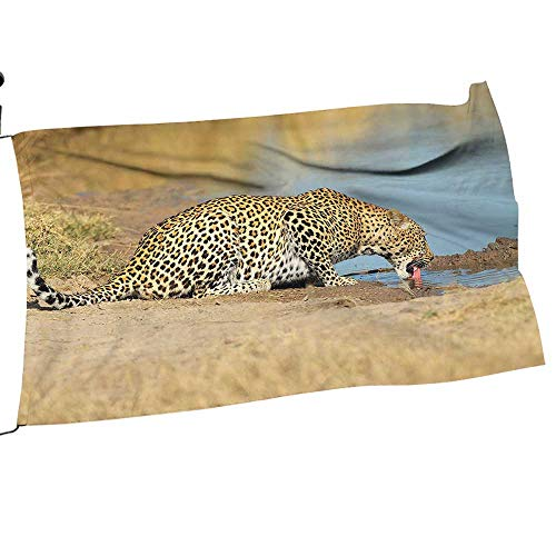 painting-home Garden Flag Army Leopard Panther Dr k W erhole Wild Sout African Documentary Light Premium Quality Durable Material14 x 21