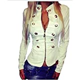 Item Type: Outerwear & Coats Outerwear Type: Jackets Gender: Women Clothing Length: Regular Closure Type: Zipper Hooded: No Collar: Mandarin Collar Sleeve Length: Full Decoration: Button,Zippers Pattern Type: Solid Sleeve Style: Regular S...