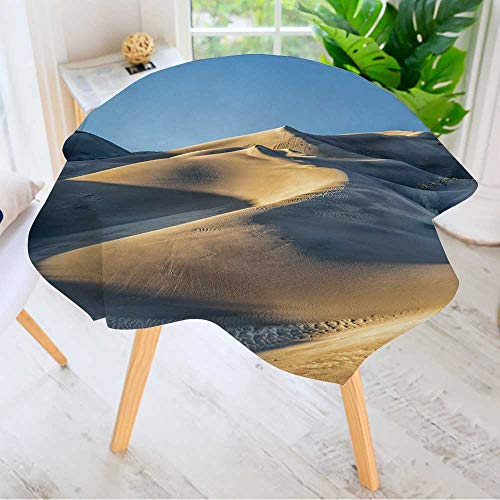 Leighhome Easy-Care Cloth Tablecloth Round- Sand Dunes Patterns at Sunset Great Sand Dunes National Park in Colorado Great for Buffet Table, Parties, Holiday Dinner & More 71