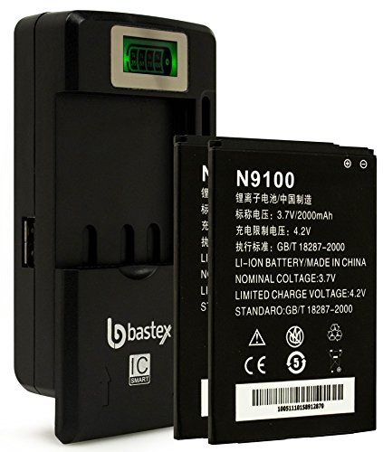 Two (2pk) Bastex Replacement Battery for N9100 Radiant, Z740, Z955, Z730, ZTE Concord 2+Plus One (1) Bastex External Dock LCD Battery Charger (Backup Battery For Zte Zmax)