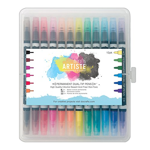Docraft Artiste Dual Tip Permanent Brush Marker Pens Art/Craft x 12...