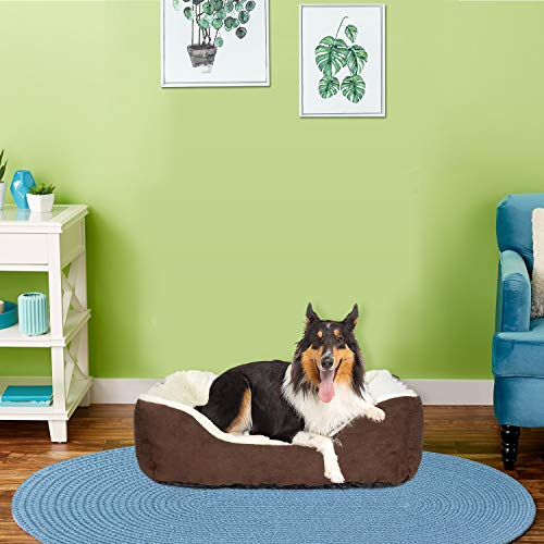 LIVINGbasicsTM Rectangular Bolster Pet Bed, Soft Plush Dog Bed Cat Bed, Machine Washable, Large