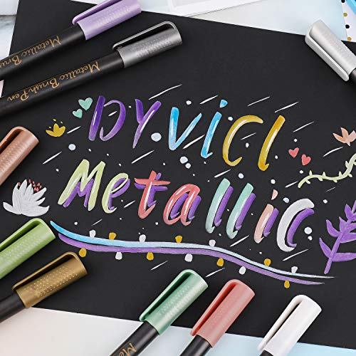 Dyvicl Metallic Brush Marker Pens - Metallic Pens Art Markers for Calligraphy, Brush Lettering, Black Paper, Rock Painting, Card Making, Scrapbooking, Fabric, Metal, Ceramics, Wine Glass, Set of 10