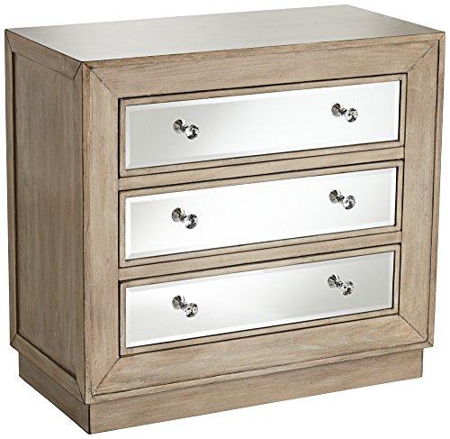 Gabriella 32″ Wide Mirrored Oak Veneer 3-Drawer Accent Chest