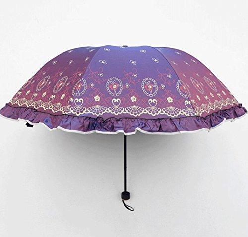 (Sucastle Chameleon, Vinyl, Folding, Umbrella, Creative, Rose, Love, Skirt, Princess, Sun umbrella, UV, Rain, Umbrella Sucastle:Colour:purple:size:Curvature; 110cm :; handle length 65cm)