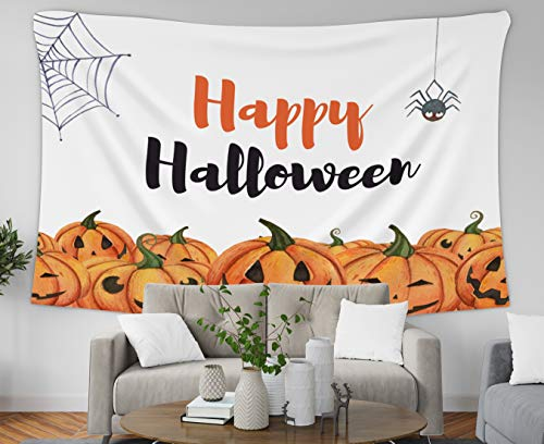 Musesh Geometric Wall Tapestry Hanging, 80x60 Inch Watercolor Happy Halloween Wallpaper with Pumpkins Spider and C,Tapestries Wall Hanging for Bedroom Living Room Decor Inhouse