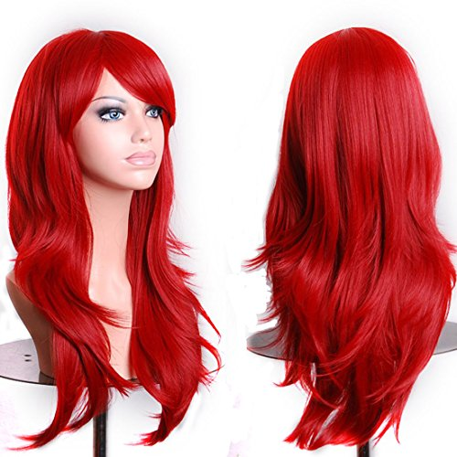 Wigood 28 inch Red Long Curly Hair With Air Bangs Cosplay Wig with Free Wig Cap for Women