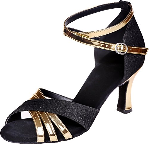 Glitter Womens Shoes Straps PU Latin Peep Ankle Find Toe Cha Cha Ballroom Sole Salsa Comfort 3IN Practice Beginner Black Swing Nice Wedding Tango Sudue Party Dance CA85wg