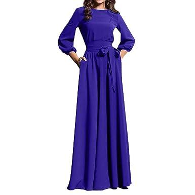 9481ce929c5 Minisoya Women Lantern Sleeve Boho Long Maxi Dress Casual Elegant Evening  Prom Party Beach Dress Sundress