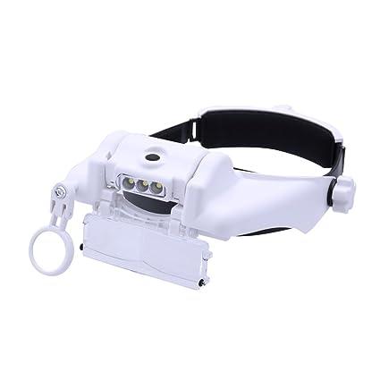 Cabeza Gafas Lupa de Aumento con Luz LED y Cinco Lentes para Relojero,Leer,
