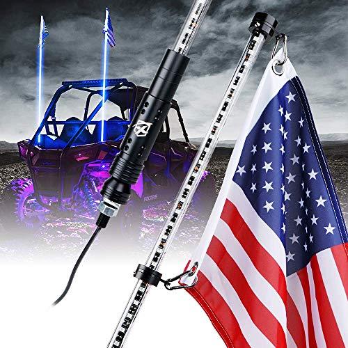 Xprite 5ft LED Flag Pole Safety Antenna Whip Lights for Polaris RZR XP 1000, UTV, ATV, Yamaha, Can Am Maverick X3 and other Models- Blue