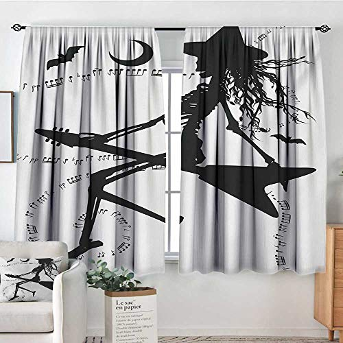 Mozenou Music Thermal Insulating Blackout Curtain Witch Flying on Electric Guitar Notes Bat Magical Halloween Artistic Illustration Kid Blackout Curtains 55