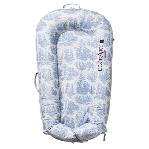 COVER ONLY (Toile de Jouy Dusty Blue) for DockATot Deluxe Dock - DOCK SOLD SEPARATELY - Compatible with All DockATot Deluxe Docks