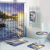 Philip-home 5 Piece Banded Shower Curtain Set Pier at The Beach in Key West Florida USA Pattern Printing Suit