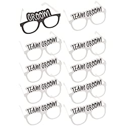 Bachelor Party Sunglasses - 10-Pack of Wedding Photo Booth Props with 1 Groom and 9 Team Groom Party Favors Glasses for Men, Cardstock Paper, Black and White