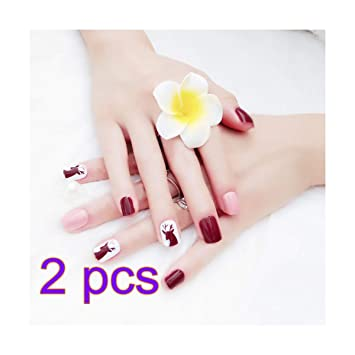 48pcs False Nail Pink Petal with Crystals Elegant Touch French Manicure False Nails with Glue Full