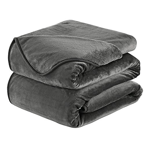 Soft Blanket Queen Size Fleece Warm Fuzzy Throw Blankets For The Bed Sofa Lightweight 350GSM HOZY Dark Grey 90