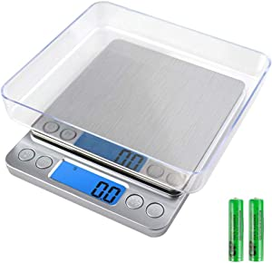 Digital Kitchen Scale,Precision 0.01oz Food Scales for Weight Loss,Mini Pocket Gram Scale for Cooking,Baking,Meat,Coffee,Jewelry, Digital Electronic Weight Gram and OZ Scale with 2 Trays,Tare,PCS