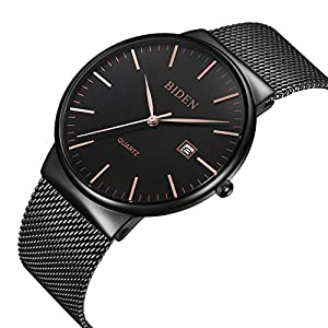 Watch,Watch Mens,Mens Dress Black Business Casual Stainless Steel Fashion Watch With Milanese Mesh Bracelet Band,Waterproof Calender Wrist Watch