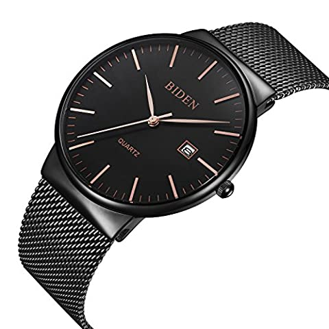 Watch,Men's Fashion Stainless Classic Black Casual Watch With Milanese Mesh Band , Waterproof Casual Analog Quartz Dress Wrist (Watch Waterproof Prime)