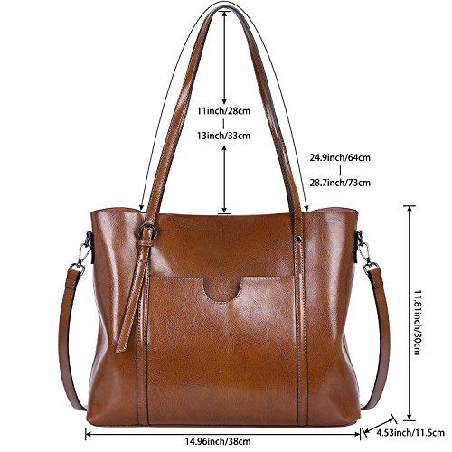 S-ZONE Women Genuine Leather Top Handle Satchel Daily Work Tote Shoulder Bag Large Capacity (Dark Brown) by S-ZONE (Image #5)