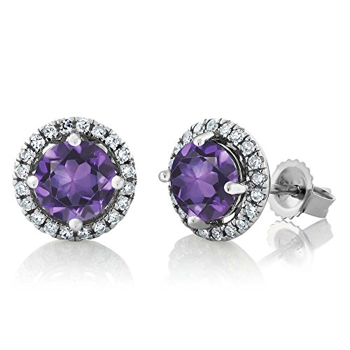 14K White Gold Diamond Halo Earrings set with 1.61 Ct Round Purple Amethyst by Gem Stone King