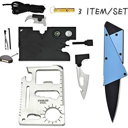 Credit Card Multitool Pocket Tool Kit Wallet Tool with Upgrade 18-IN-1 Credit Card Tool,11-IN-1 EDC Multitool Card,Folding Card Knife By I-LIFE (3 Kinds / set EDC Knife) (Compass Credit Card)
