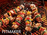 Perfect Grill BBQ Barbecue Skewers, Shish Kabob Sticks - 12-Inch, Stainless Steel Kebab - One Dozen (12-Pack)