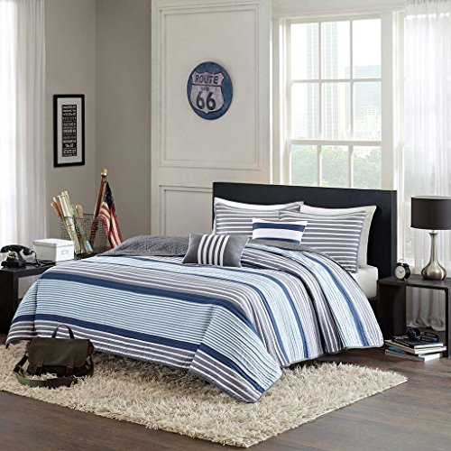 Intelligent Design Paul Full/Queen Size Teen Boys Quilt Bedding Set - Blue Grey, Striped - 5 Piece Boys Bedding Quilt Coverlets - Ultra Soft Microfiber Bed Quilts Quilted Coverlet