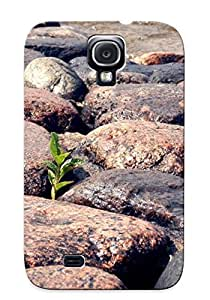 First-class Case Cover Series For Galaxy S4 Dual Protection Cover Plant Growing Through The Beach Rocks BZwzoub538zNilp