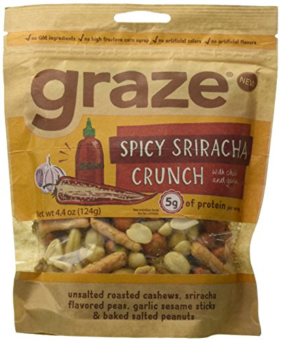 Graze Natural Spicy Sriracha Crunch Snack with Sriracha Peas, Roasted Cashews, Baked Salted Peanuts and Garlic Sesame Sticks, Healthy, Tasty, Natural Nut Trail Mix, 4.4 Ounce Bag